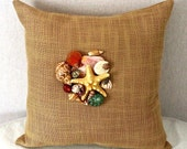 Seashell Cushion Cover, Seashell Pillow, Pillow With Seashells, Gifts For Her, Gifts under 50, Beach Cottage Decor, Beach Home Decor,