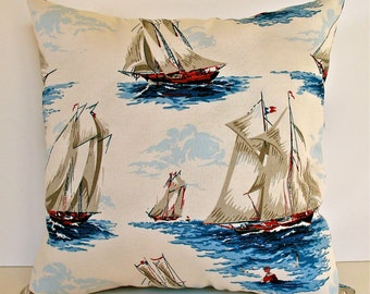 Nautical Decor Pillow, Sailboat Pillow, Gifts for Men, Pillow with Sailboats, Beach House Decor, Nautical Home Decor