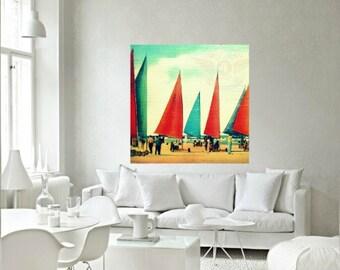 Sailing Art, Sailboat Print, Sand Sailing Guy Gift Nautical Decor Art Sailboat Art Coastal Art Vintage Boats Wall Art Sailing gift, Nautical