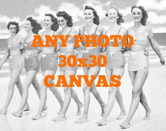 Unique Beach Art, Canvas Art, Beach Decor Coastal, Vintage Beach Art, Beach Canvas Gallery Wrap 30x30 Beach House Art, Vintage Beach Canvas