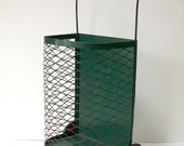 Vintage Metal Market Basket Cart with Wheels / Shopping Cart / Wheeled Shopping Basket / Grocery Getter / Wheeled Cart / Green and Red