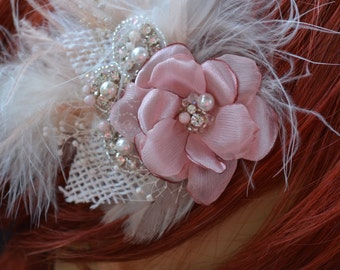 Ready to ship, Blush and Mauve Pink Hair flower, flower fascinator, bridal hair flower, burlap leaves, pearls and crystals, Blush feathers