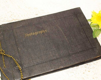 Vintage Photo Album with photographs, Scrap Book 1920's /30's