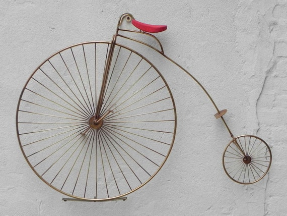 Items similar to jere metal high wheel bicycle penny for Bicycle wheel wall art