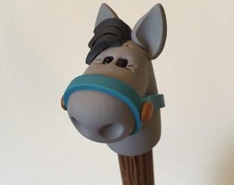 Polymer Clay Gray Horse Pen