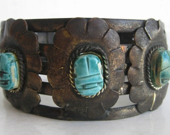 Vintage Egyptian Revival Scarab Beetle Large Wide Metal Cuff Bracelet