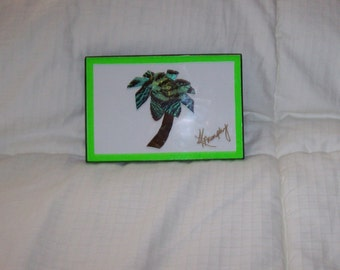 "Real Butterfly Wings Arranged in a Framed  "" Palm Tree"" Collage"
