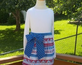 Buy Any 2 Skirts and Get 1 FREE, Red, White, and Blue Nautical Overskirt Skirt, Size 2, 3, 4, 5, 6, 7, 8, 9, 10, and 12