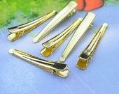 Metal hair clip - Gold tone tip head hair alligator clips 7mm x 47mm