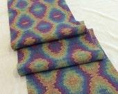 """Long Table Runner, Hand Woven Textile Art, Boho Room Decor, Modern Loom Weaving -14""""x72"""""""
