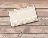 """Burlap and Lace Printable Food Tags or Place cards 3.5 x 2.25"""" Tent-Style - INSTANT DOWNLOAD"""