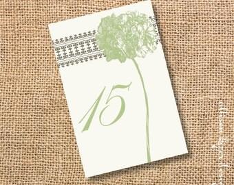 Sage Green Hydrangea Printable Table Cards - Wedding Reception Garden Party Tea Party Corporate Event Hydrangeas Floral - INSTANT DOWNLOAD
