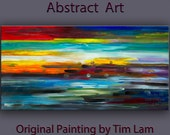 "Abstract painting  moody design oil painting 48"" x 24"" art Modern moody design oil painting on linen canvas by Tim Lam"