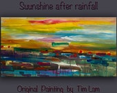 """Large Painting art Original Abstract Oil painting Modern design decor colorful stripes  on gallery wrap canvas by Tim Lam 48"""" x 24"""""""