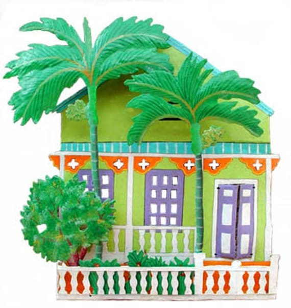 Caribbean Gingerbread House Wall Hanging - Painted Metal Art - Metal ...