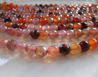 6mm Agate Beads, Orange, Peach and Pink Shades, Round Faceted, Dyed, Natural Stone Beads, 1 Bead Strand, Approx 60 Gemstone Beads