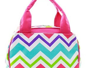 Insulated Chevron pattern Lunch totes bags Back to School Personalized FREE