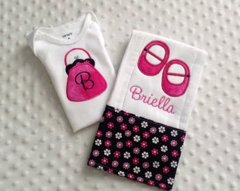 Baby Girl Personalized 2 Piece Gift Set  - Bodysuit and Burp Cloth- It's A Girl - Purse and Shoes
