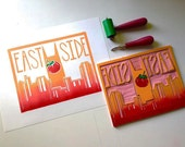 Original hand printed block print of East Nashville Skyline with Tomato