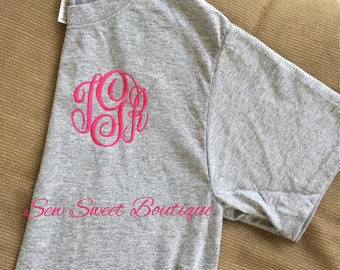 New Year Sale Embroidered Monogram Tee Shirt