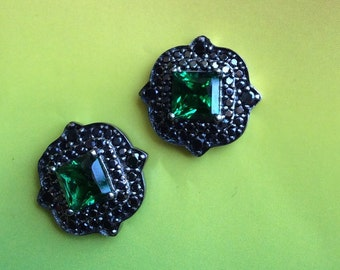 ROMANCE NOIR STUDS sterling elegant romantic jewel green black art deco inspired