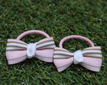 Baby madison stripey bows  one pair pony-o hair-tie pigtails, hairbow sets, pink dainty bows, ponytail hair, babybows, stripes bow