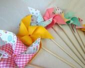 Paper Pinwheels Birthday Favors 12 Twirling Pinwheels Birthday Favors Party Favors Adorable Birthday Pattern Prints Birthday Decorations