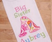 Girls Pink, Aqua and Green Paisley Appliqued Initial Big Sister Shirt Sibling Shirt or Birth Announcement Shirt
