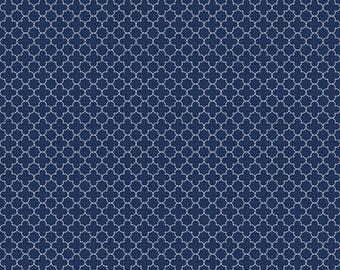 Basics Mini Quatrefoil Navy by RBD Designers for Riley Blake, 1/2 yard