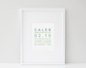 Modern Birth Announcement Print - Custom Wall Art