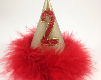 Birthday Party Hat for Dogs, Cat Birthday Hat, Red and Gold