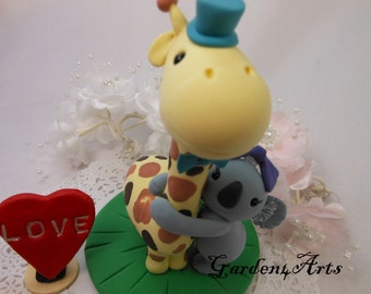 Wedding Cake Topper-- Love giraffe and koala with clay grass base--NEW