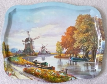 Dutch Canal Scene - Holland Windmills Tin Litho Serving Tray, Made in Italy
