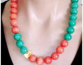 WOW-Y 65% OFF: Ashira Malachite and Tangerine Orange Jade, 24K Gold Vermeil Hammered Focal Station