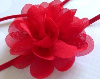 Red Rose Flower Puff Headband - Small Flower Headband - Red Hair Clip