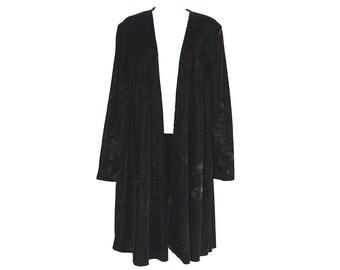 90's Crushed Black Velvet Long Sleeve Minimalist Slouchy Duster Coat size - S/M