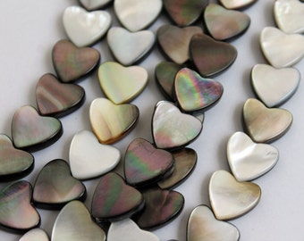 Full Strand Flashy Natural Black Lip Shell Heart Beads Double Sided 12x12mm