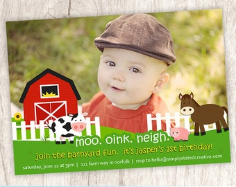 Farm Birthday Party Photo Invitation, Farm Themed Party Invite, Farm Animals - DiY Printable, Print Service Available || Barnyard Farm Fun