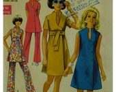 """60s Mod Dress Pattern, Keyhole Neckline, Button Front, Sleeveless/Short Sleeves, Tunic and Pants, Simplicity 8278 Size 10 Bust 32.5"""" 82cm"""