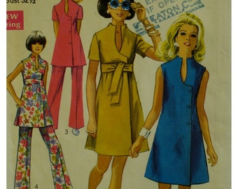 "60s Mod Dress Pattern, Keyhole Neckline, Button Front, Sleeveless/Short Sleeves, Tunic and Pants, Simplicity 8278 Size 10 Bust 32.5"" 82cm"