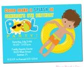 PRINTABLE Boy Pool Party Invitations (Character of your choice) #5001
