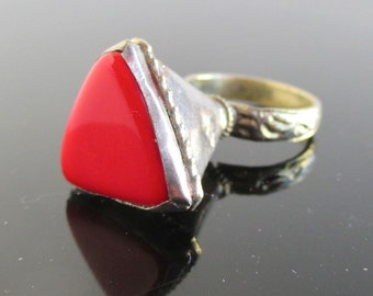 Long Red Handmade Ring - Unusual Large Triangle Shape - Vintage