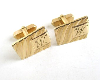 Letter W Initial Cuff Links - Vintage Anson, Gold