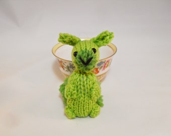 Hand Knit Bunny Plush Lime Green, Bunny Toy, Lime Bunny Stuffie, Knit Rabbit, Wool Bunny, Ready To Ship