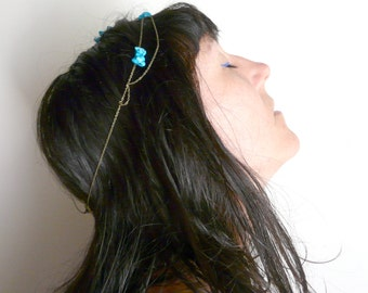 Blue turquoise headband stones ( crown, brass antiqued, gypsy caravan ) 01