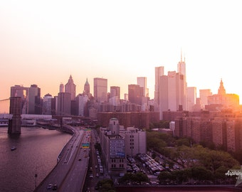 NYC Photography, Skyline at Sunset, Pink and Orange, Sunset Home Decor, Manhattan Home Decor, Manhattan Skyline Sunset, Hudson Office Decor