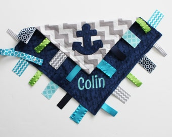 PERSONALIZED Anchor Ribbon Tag Sensory Blanket with Pacifier Clip Large 16 x 16 Turquoise Lime Navy Minky