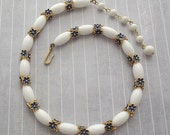 Trifari White Bead Collar Necklace Blue Enamel Flowers Floral Necklace Flower Jewelry Summer Necklace