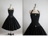 50's Dress // Vintage 1950's Elegant Black Rhinestone Halter Full Bombshell New Look Dress XS