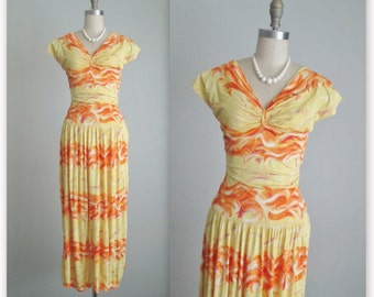 40's Dress // Vintage 1940's Vibrant Abstract Print Jersey Knit Summer Dress XS